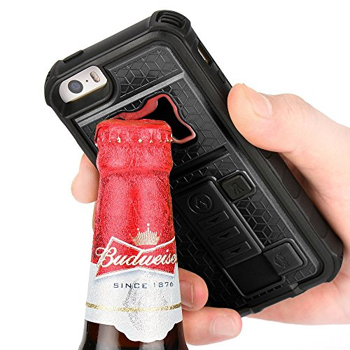 iPhone 5s Case, ZVE Multifunctional Cigarette Lighter Cover for iPhone 5 / 5s Built-in Cigarette Lighter, Bottle Opener, Camera Stable Tripod Case - Black (5s Bottle Opener compare prices)