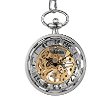 buy Fafada Men'S Hollowed Manual Wind Mechanical Pocket Watch No Cover Silver