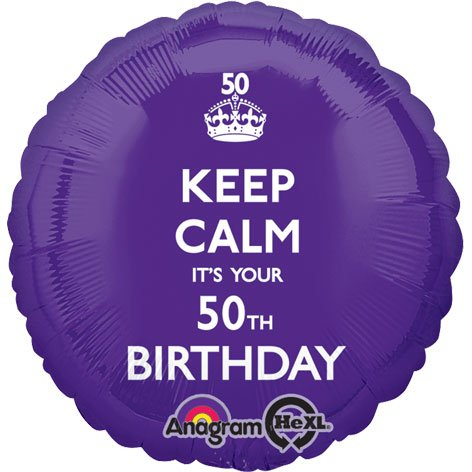 Amscan Keep Calm It's Your 50th Birthday Foil Balloon HS40, Purple