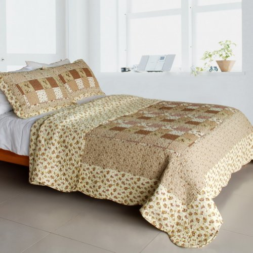 [Garden Dream] Cotton 3Pc Vermicelli-Quilted Printed Quilt Set (Full/Queen Size) front-1016890