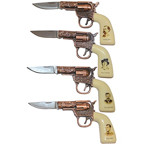 Mini 6-shooters Western Legends Wild West Knife Set/4 With Display Case (Display Case For Knives compare prices)