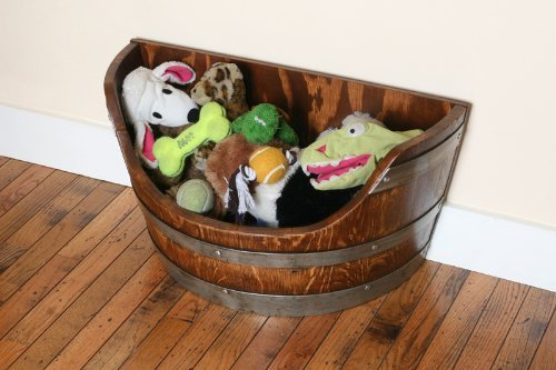 Pet Toy Box, Toy Bin Made From Solid Oak Wine Barrel By Wine Barrel Creations (Wine Barrel Pet Food compare prices)