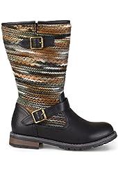Brinley Co. Womens Multi Fabric Fashion Boots