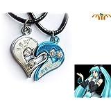 Miku Hatsune Japanese Anime Necklace Heart Shade Set (1 Silver & 1 Blue)