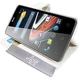 Etui Housse Luxe Blanc Stand et Portefeuille pour Acer Liquid Z4 Duo + STYLET et 3 FILM OFFERT !!