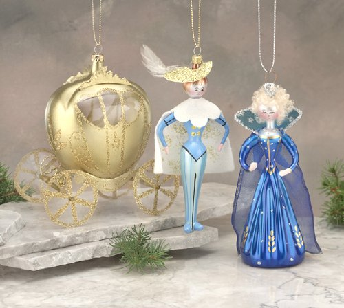 De Carlini Cinderella Set of 3 Italian Mouthblown Glass Christmas Ornaments