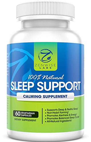 100% Natural Sleep Aid Support Supplement - Non-Habit Forming Capsules With Melatonin, L-Taurine, L-Theanine & 5-HTP - Extra Strength Nighttime Sleep Support - 60 Vegetarian Pills for a Restful Sleep