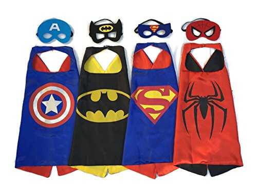 Superhero-Dress-Up-Costumes-4-Satin-Capes-and-4-Felt-Masks