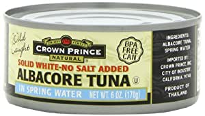 Crown Prince Natural Solid White Albacore Tuna In Spring Water, No Salt Added, 6-Ounce Cans (Pack of 24)