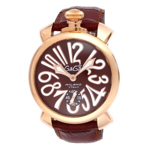 [ガガミラノ]GAGA MILANO 腕時計 マニュアーレ ブラウン文字盤 ステンレス(PGPVD)ケース 裏蓋スケルトン スイス製 501101S-BRW メンズ 【並行輸入品】