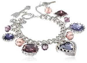 "Betsey Johnson ""Iconic Amethyst"" Crystal Heart Multi-Charm Toggle Bracelet, 7.5"""