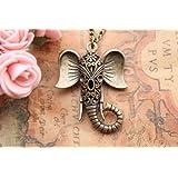 Auspicious Necklace,Hollow Out Elephant Necklace, Fashion Necklace,Friendship Gift (Color: brass)