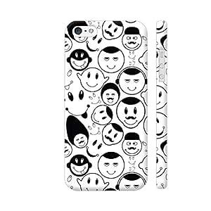 Colorpur Black And White Smiley Seamless Pattern Designer Mobile Phone Case Back Cover For Apple iPhone 5 / 5s | Artist: Designer Chennai