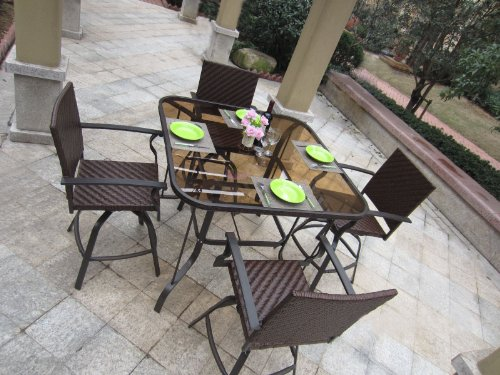 5pc Carlisle Outdoor Wicker Patio Bar Set Cheap Patio Furniture Sets