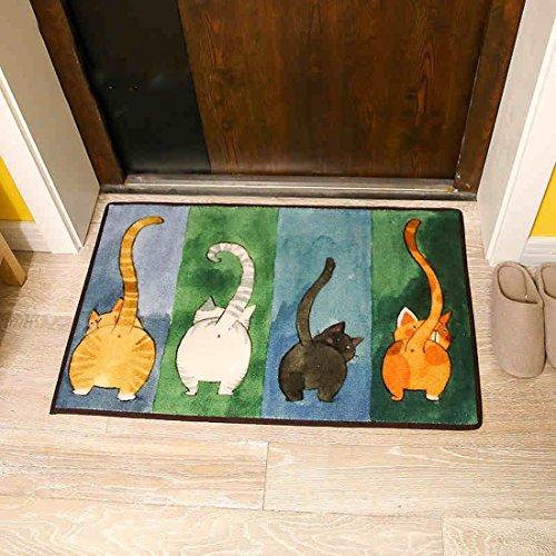 ONEONEY Simple Cute Cat Livingroom Rugs Home Essentials Door Mat Bedroom Rugs Bedside Area Rug Creative Foot Mats Non-slip Floor Rugs Carpet-(Multi,15.7