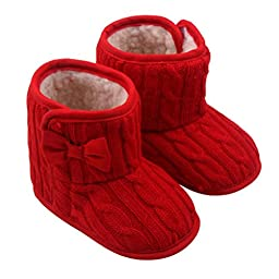 Mosunx Toddler Infant Baby Winter Cute Boots Bowknot Soft Sole Shoes (11, Red)