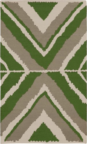 2' x 3' Rectangular Surya Accent Rug by Beth Lacefield AMD1045-23 Spinach Green/Oyster Gray Color Handmade in India