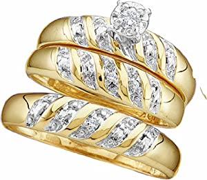 Men's Ladies 10K Yellow Gold Round Diamond 0.07 Ct. Engagement Ring Wedding Band Trio Bridal Set by Rodeo Jewels Co