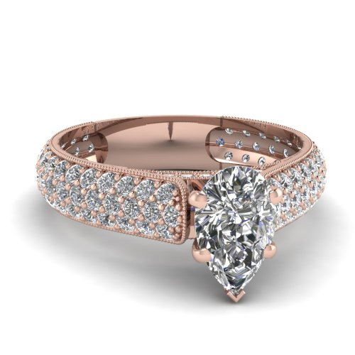 Fascinating Diamonds 2 Ct Pear Shaped Diamond Milgrain Edge Engagement Ring Pave Set Vvs2-H Color Gia