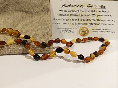 Baltic Essentials Amber Teething Necklace for Babies (Unisex) - Anti Flammatory, Drooling & Teething Pain Reduce Properties - Certificated Natural Oval Baltic Jewelry with the Highest Quality Guaranteed. Easy to Fastens with a Twist-in Screw Clasp Mothers Approved Remedies! Multi Milk Cognac Cherry Lemon Brown Black Yellow White Honey Maximum Effective - 1