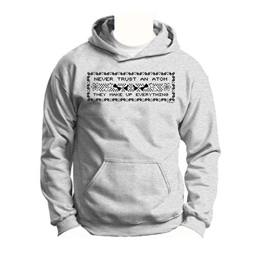 Never Trust An Atom, Funny Ugly Christmas Sweater Youth Hoodie Sweatshirt Medium Ash