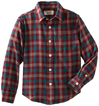 Original Penguin Little Boys' Flannel Button Down Shirt, Tibetan Red, Medium-5/6