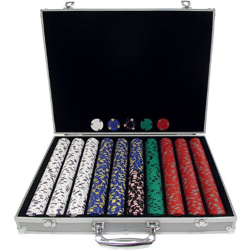 Trademark 1000 13 Gm Pro Clay Casino Chips With Aluminum Case (Silver) front-1017316