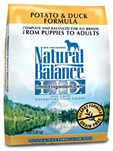 Natural Balance Dry Dog Food, Grain Free Limited Ingredient Diet Duck and Potato Formula, 15 Pound Bag