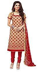Jiya Presents Embroidered Chanderi Dress Material (Beige,Red)