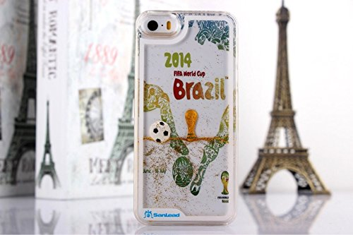 Angelia 2014 Fashion 2014 Brazil World Cup 3D Free Flowing Liquid Swimming Football Hardshell Case For Apple Iphone 4 4S (Transparent)