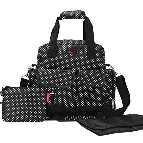 Damero Large Dots Diaper Tote Bag / Backpack / Shoulder Bag 3 Carrying Ways (Black)