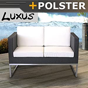 poly rattan edelstahl lounge sofa polster. Black Bedroom Furniture Sets. Home Design Ideas