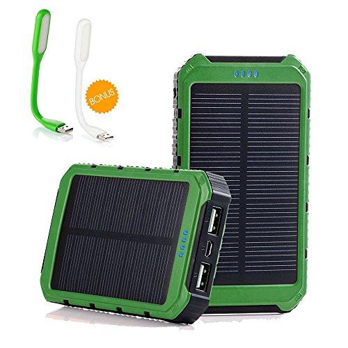 2 Free Led Lamps Grandbeing 10000mah Portable Solar