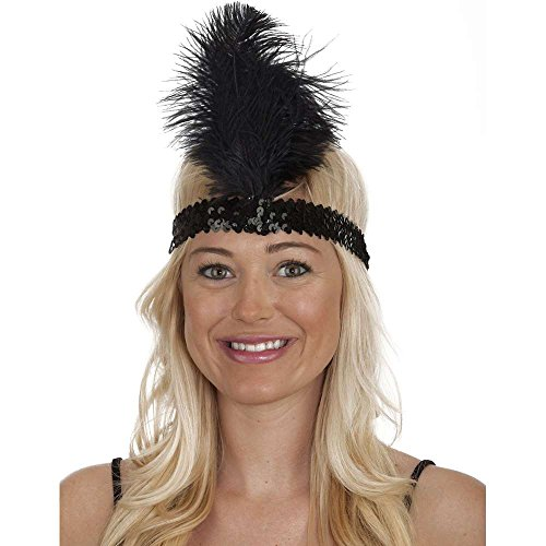 Black Sequin Flapper Band with Feather