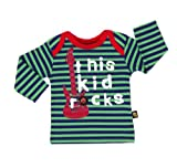 Rockabye-Unisex Baby Kid Rocks Long Sleeve T-Shirt Navy/Green 9-12 Months