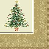 【クリスマス小物】ビバレッジナプキン ビクトリアンクリスマスツリー・16枚入(1セット)  / お楽しみグッズ(紙風船)付きセット