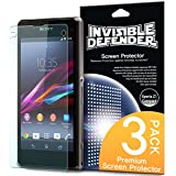 Xperia Z1 Compact Screen Protector - Invisible Defender [2 Front+1 Back/MAX HD CLARITY] Lifetime Warranty Perfect Touch Precision High Definition (HD) Clarity Film (3-Pack) for Sony Xperia Z1 Compact
