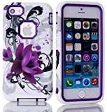 Candywe iPhone 4 Case,flower iphone 4 case,iPhone 4S Purple Case,4S Case,4S Flowers Case,4S Hybrid Case,Flowers Print 3in1 Hybrid Hard Case Cover For iPhone 4 4S For Girls For Boys