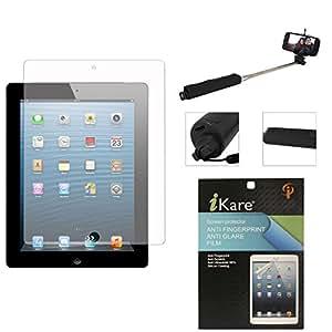 iKare Pack of 3 Anti-Glare Anti-Scratch Anti-Fingerprint Matte Screen Protector for Apple iPad Mini / Mini 2 / Mini 3 + Wireless Bluetooth Selfie Stick with Image Zoom
