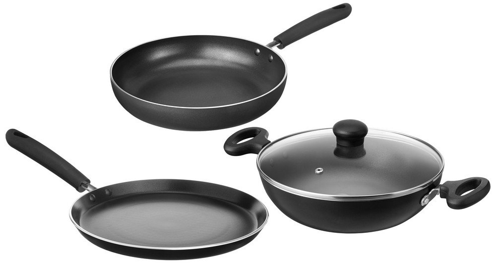 40% - 80% Off On Kitchen Dining Top Brands By Amazon | Solimo Non-Stick 3- Piece Kitchen Set (Induction & Gas compatible) @ Rs.1,499