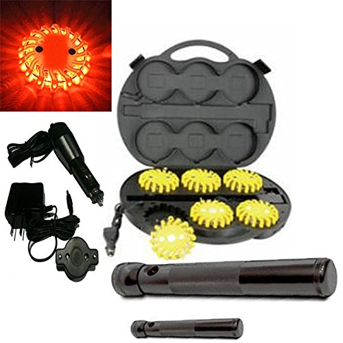 6 Pack Amber Rechargable Waterproof Led Magnet Safety Flare With 9 Operating Modes + Free Chargers And Travel Case And Led Flashlight Set!