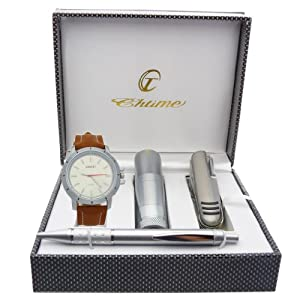 Montre Concept - Gift Box CCL - multifunction knife - torch - pen - men's Analog Watch - Camel Silicone Strap / Bracelet - Round Dial Blue Background Union Jack Flag Patterns
