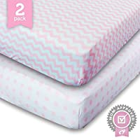 Ziggy Baby Jersey Cotton Fitted Crib Sheet Set, Pink/White, 2 Pack by Ziggy Baby