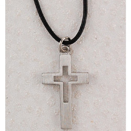 Pewter Cross Leather Cord Card Pewter Pendants & Gifts Leather Corded Pewter Men's Christian Catholic Pendant Charm Necklace Jewelry Reminders of Faith Medals