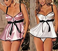 Ladies Sexy White or Pink Underwired Lightly Padded Satin Lingerie Babydoll Chemise Camisole Underwear Set & Thong UK 6-26 Plus Size