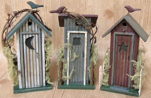 Outhouse 3pc Set Country Rustic Primitive by MCtraddy