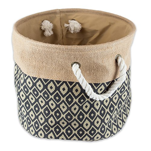 DII Sturdy Burlap, Collapsible, Convenient Storage Bin For Office, Bedroom, Closet, Laundry & More - Large Round, Black Ikat (Large Round Linen Basket compare prices)