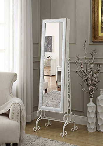 Crystal Embedded Mirrored Jewelry Armoire Cabinet Organizer White with Full Tilting Mirror