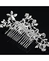 SA Clip argenté élégant nuptiale cheveux Peigne de mariage de Crystal Pearl Pin accessoire de cheveux