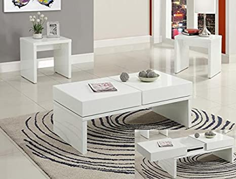 Brand New 3-pk Ibiza Coffee Table and End Table (2) Cocktail set-White Finish
